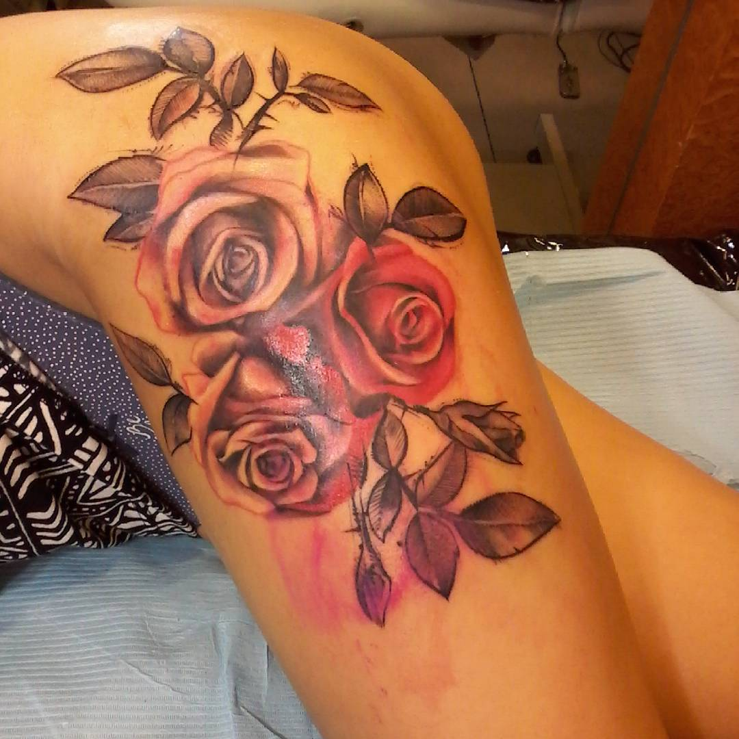 Three Roses on Hip Tattoo