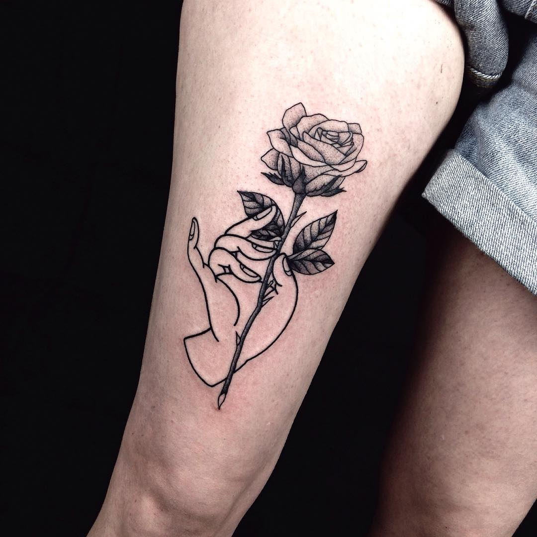Rose Tattoo on Thigh | Best Tattoo Ideas Gallery