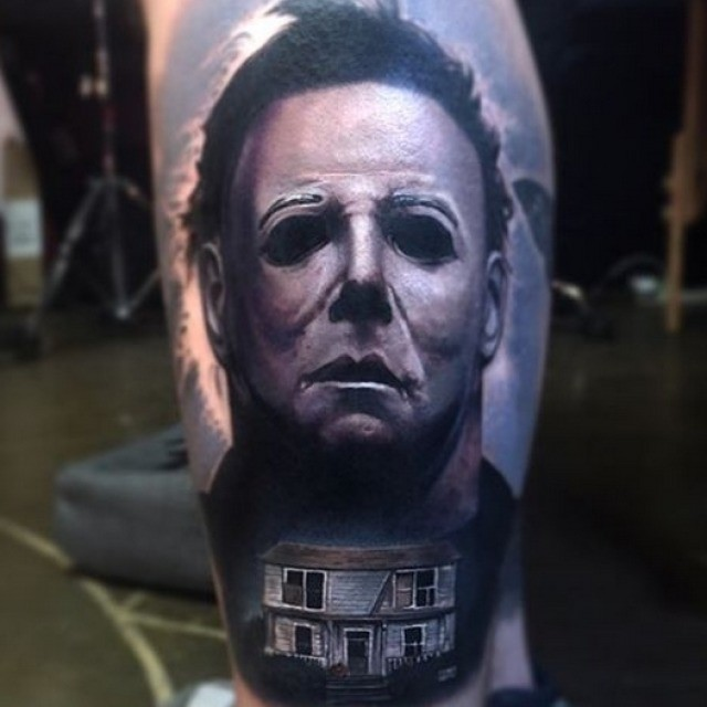 Scary Tattoo on Calf