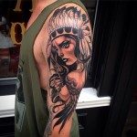 Shoulder Indian Girl Tattoo