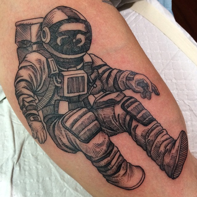 Sketchy Astronaut Tattoo