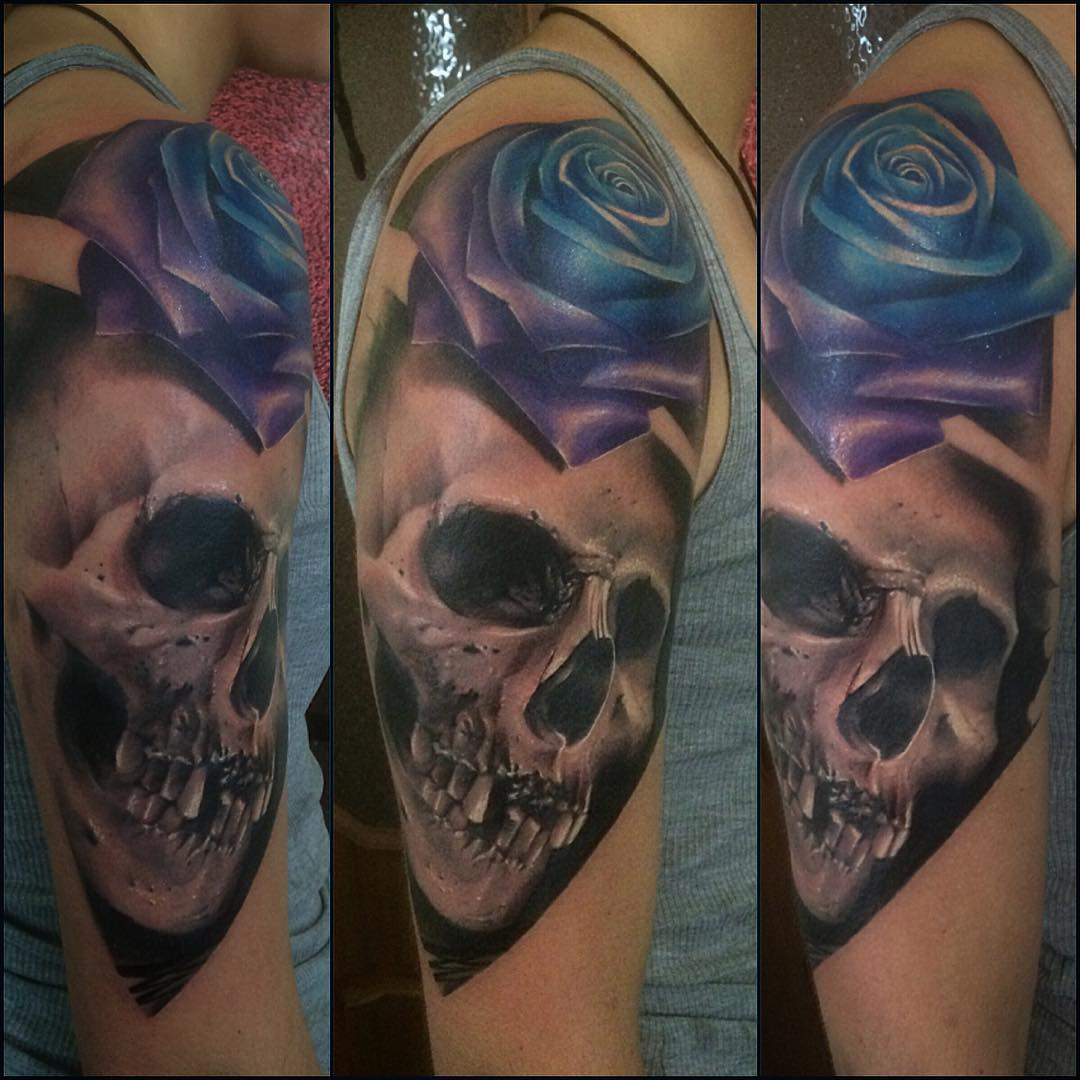 Realistic Skull and Blue Rose Tattoo on Shoulder