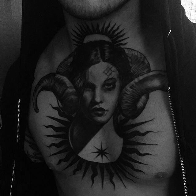 Succubus Tattoo on Chest