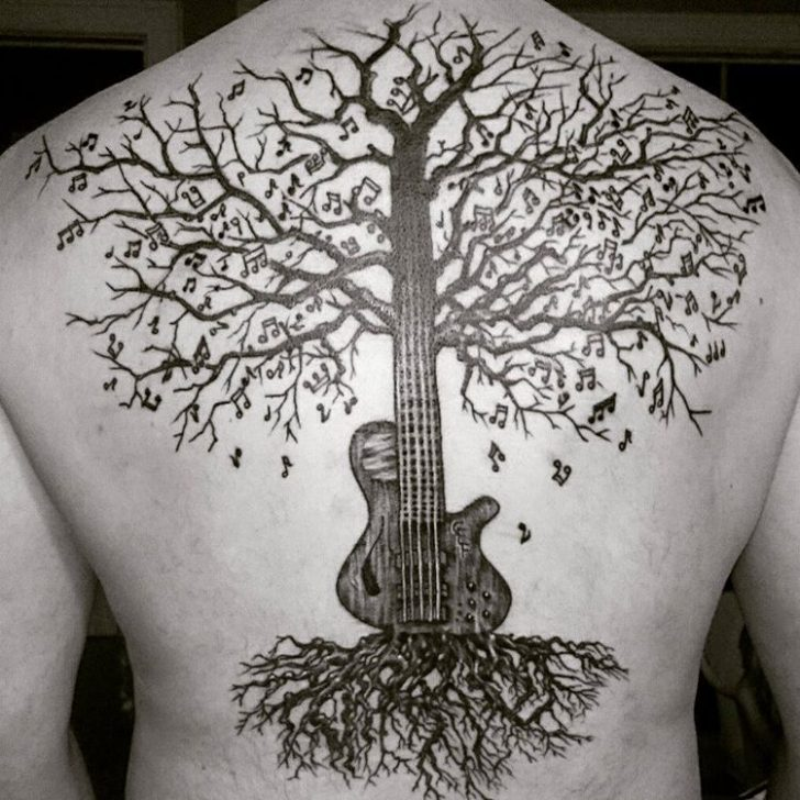 guitar tree tattoo