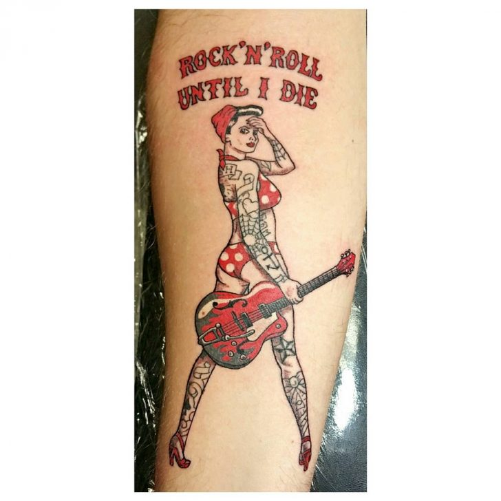 red guitar tattoo