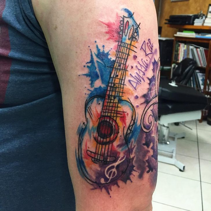 watercolor guitar tatt