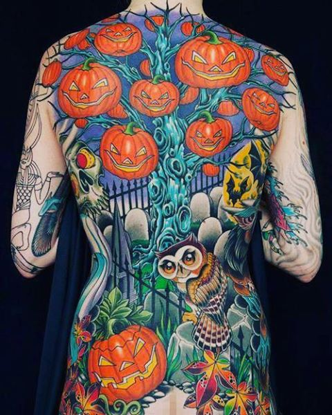 A lot of Pumpkins Tattoo on Back