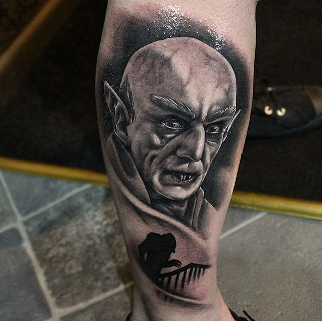 Black and Grey Realistic Vampire Portrait Tattoo
