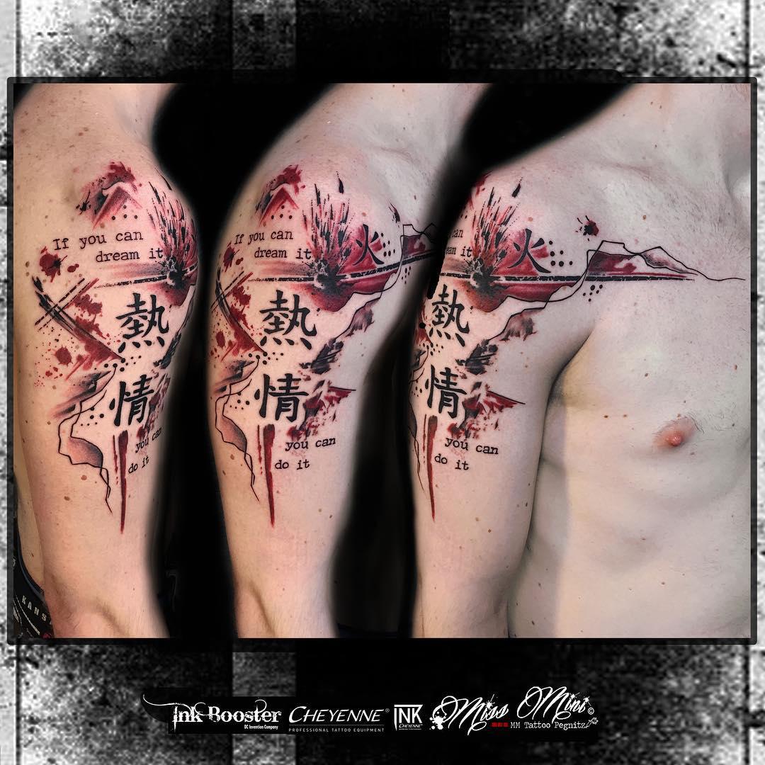 Asian Signs Trash Polka Tattoo
