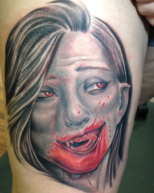 Blood Smile Girl Vampire Tattoo