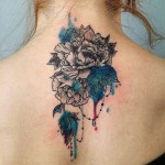 Back Neck Chrysanthemum Tattoo