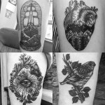 Etching Black and Grey Tattoos