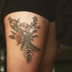 Flowers on Thigh Tattoo