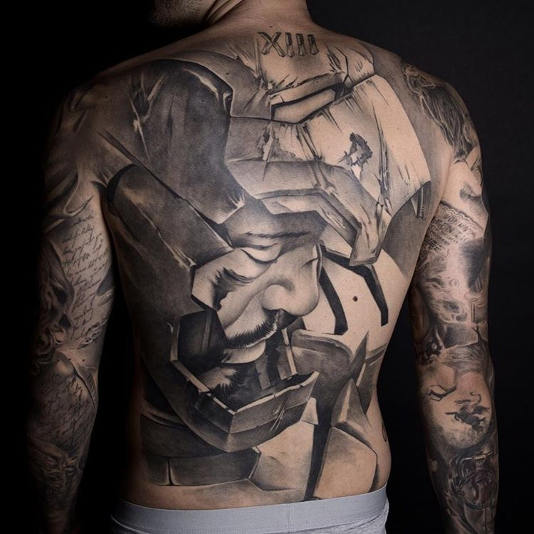 ironman tattoo - a portrait on full back