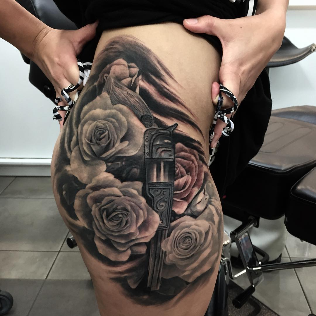 883087c87e3e7 Gun and Roses Tattoo | Best Tattoo Ideas Gallery