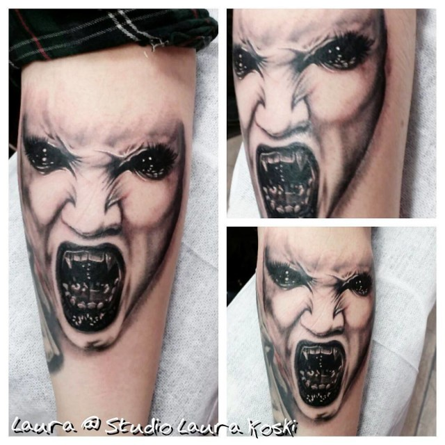 Albino Face Vampire Tattoo