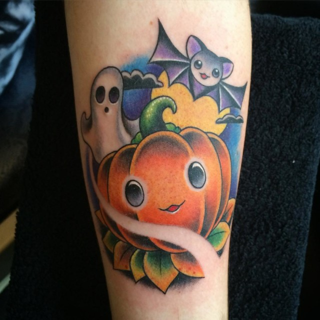 Bat Jack o Lantern and Ghost Tattoo