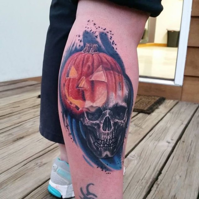 Jack o Lantern and Skull Tattoo