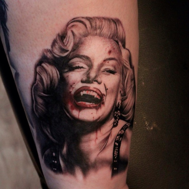 Marilyn Monroe Vampire Tattoo