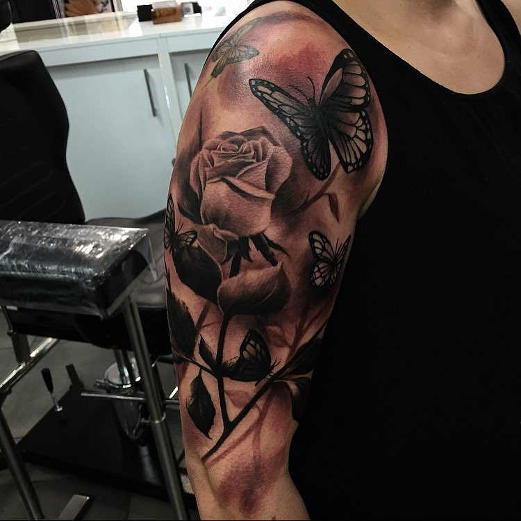 Black and Grey Rose and Butterfly Tattoo on Shoulder