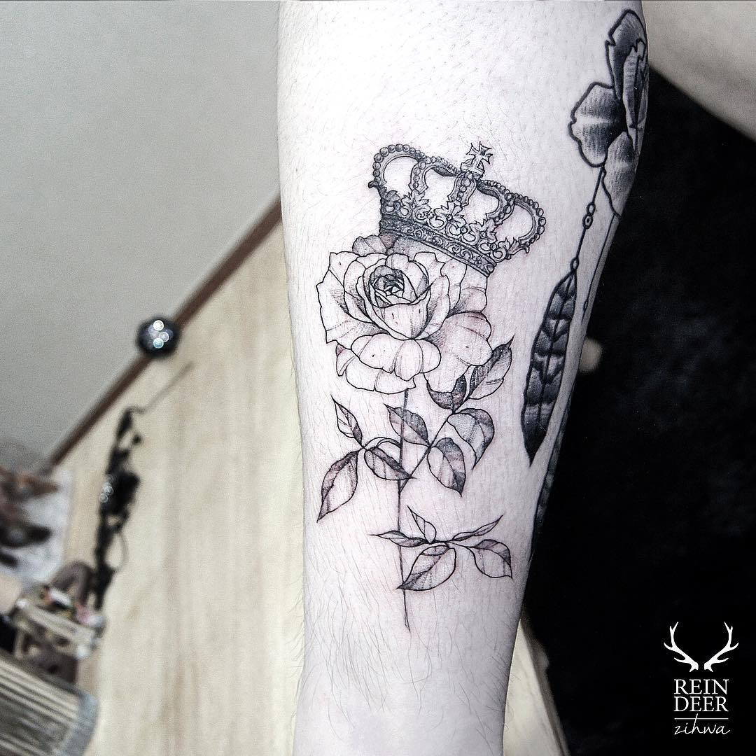 Rose and Crown Tattoo