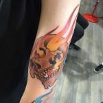 Skull on Fire Tattoo