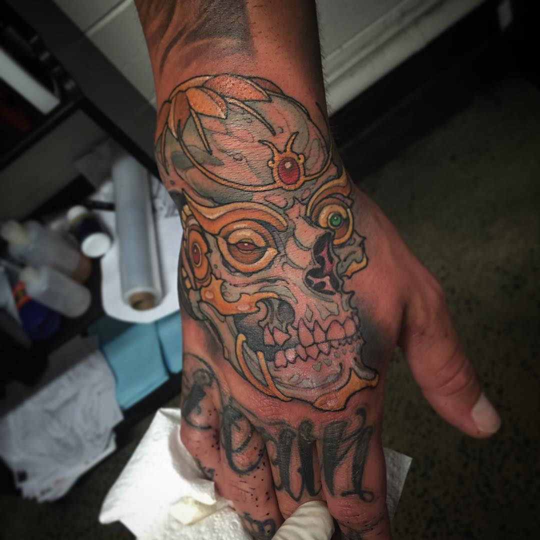 Skull on Hand Tattoo