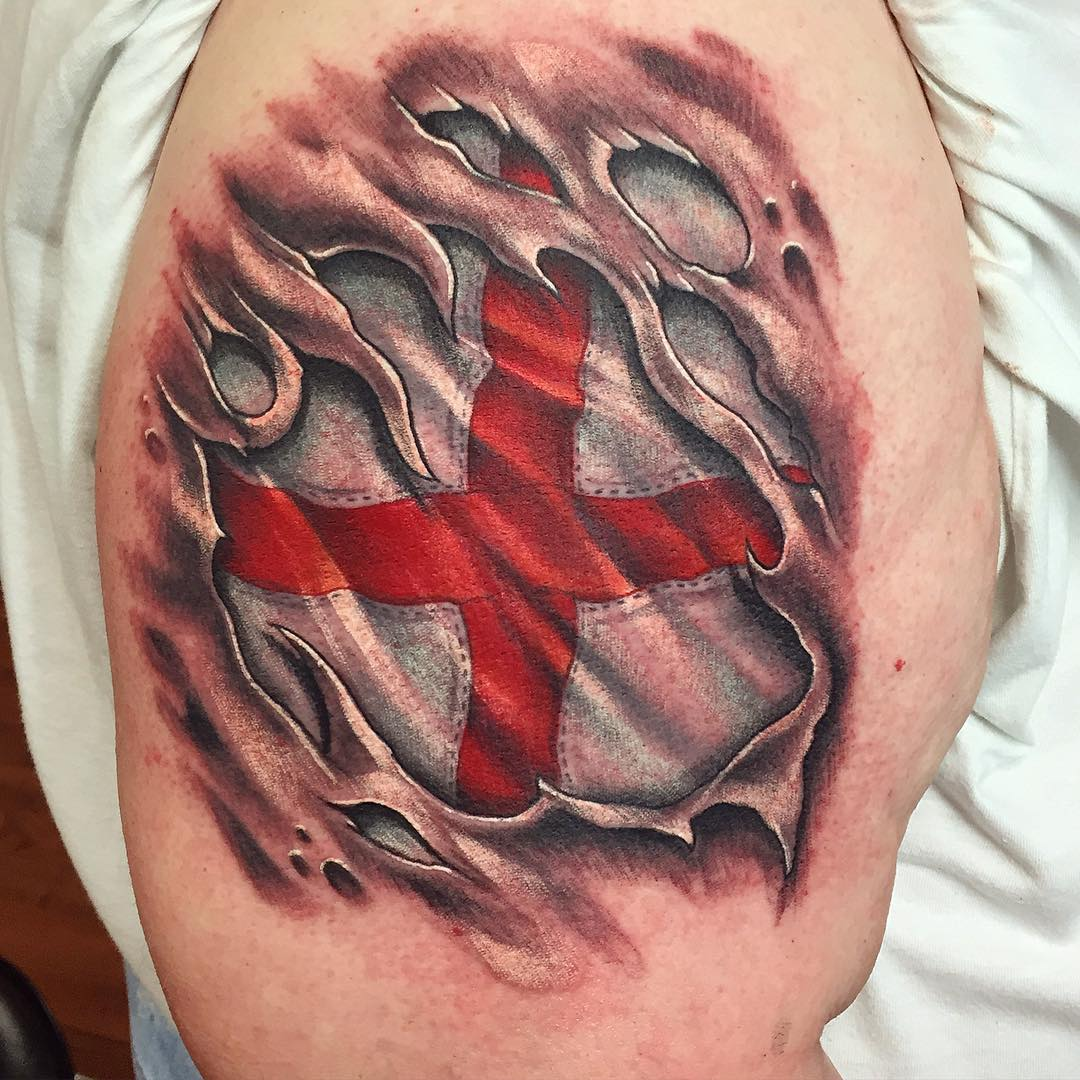 St George Flag Tattoo