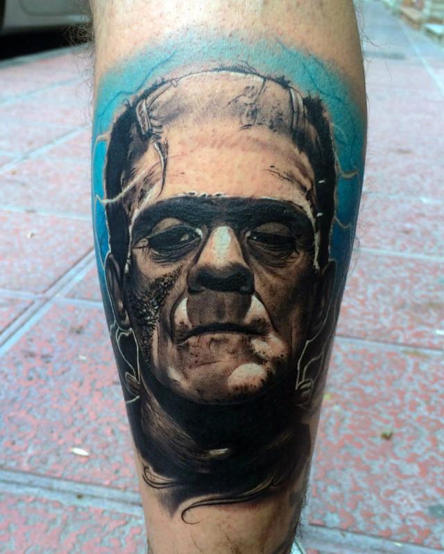 Close-up Frankenstein Tattoo Portrait