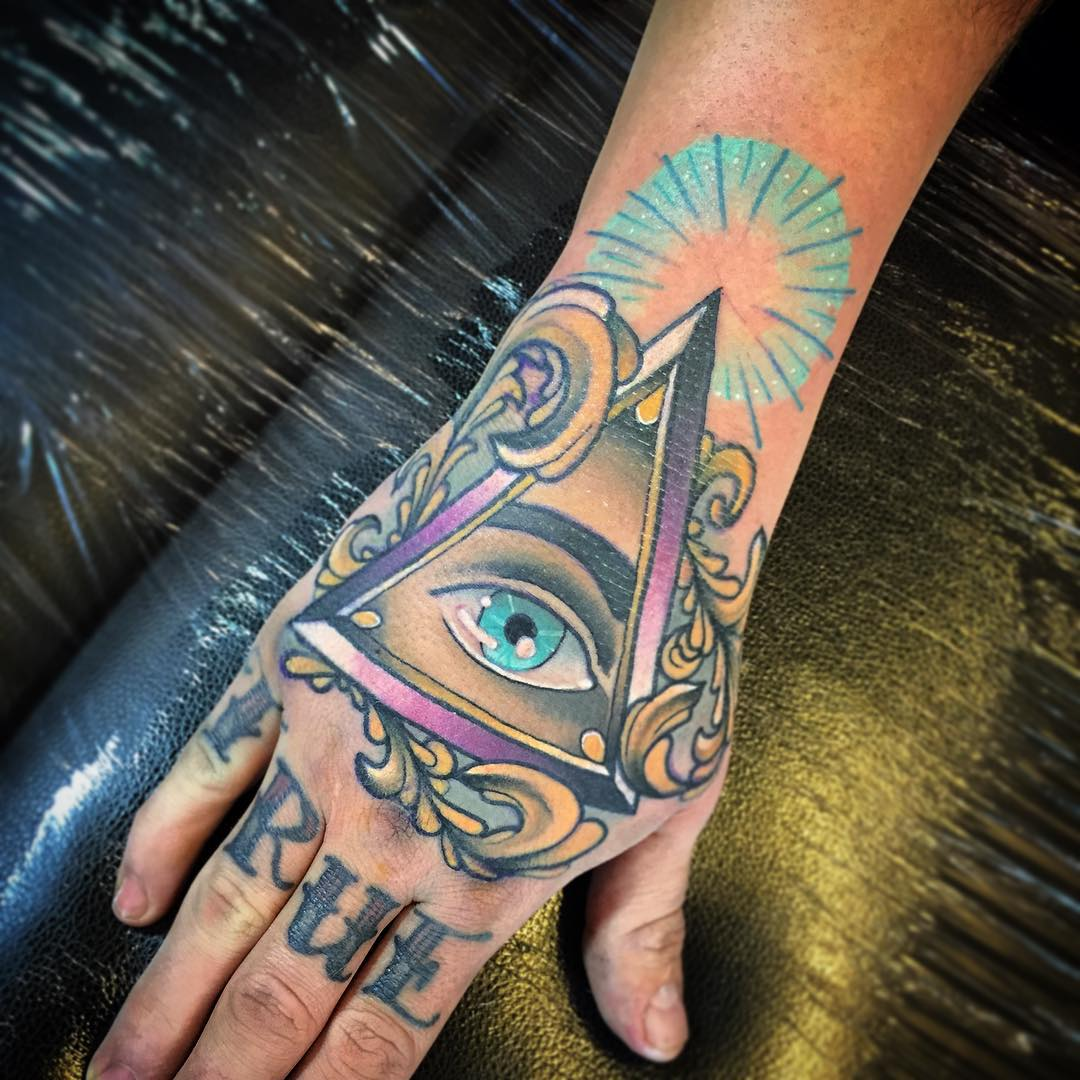 Eye With Triangle Tattoo: Triangle Eye Tattoo On Hand