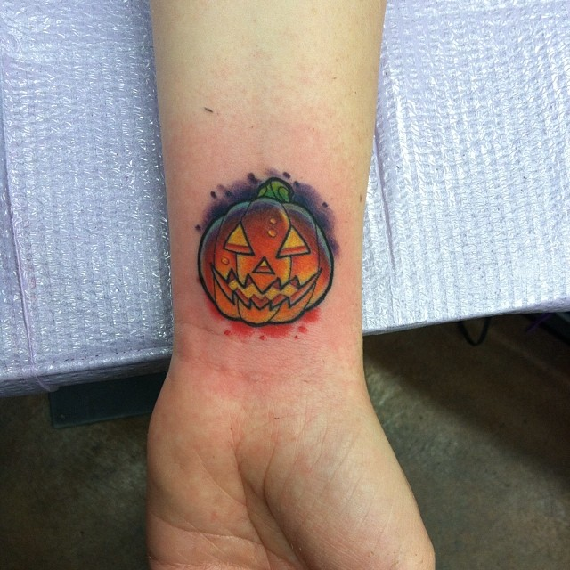 Small Pumpking  Tattoo on Wrist