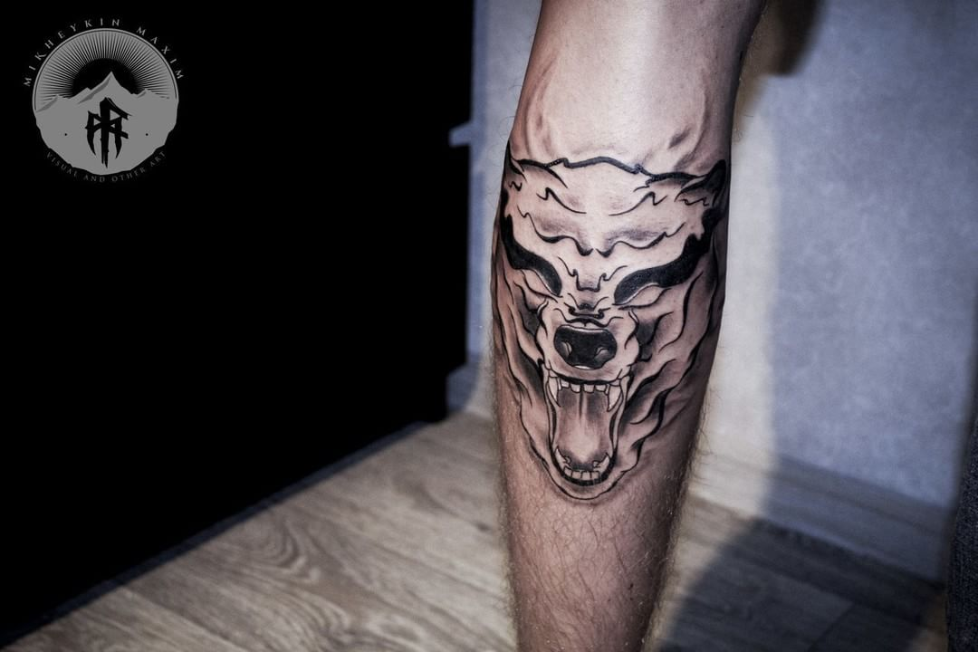 Ghost Wolf Tattoo on calf