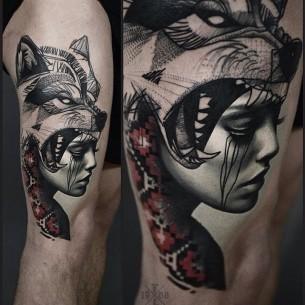 Wolf Girl Tattoo