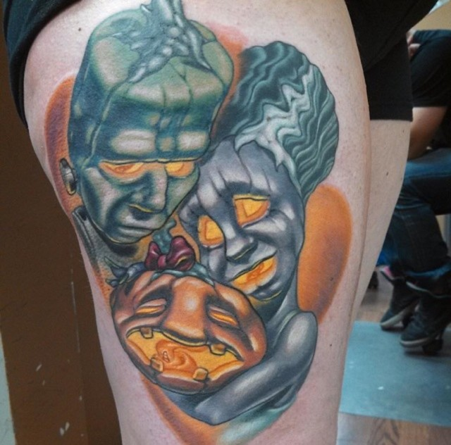 Frankenstein Happy Family Tattoo