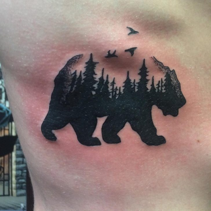 bear forest tattoo by David Cox