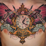 chest clock tattoo