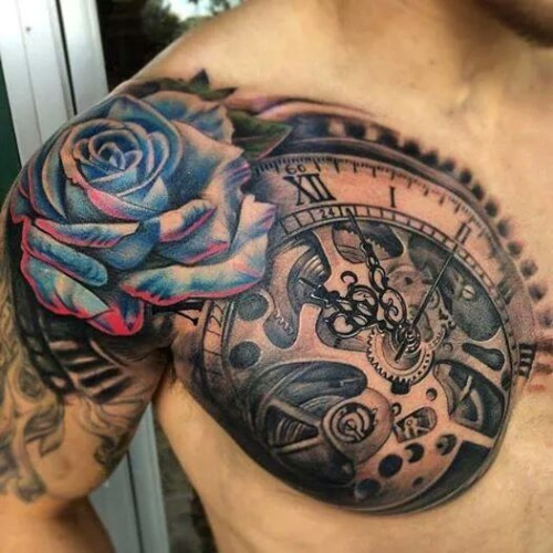 clockwork chest tattoo