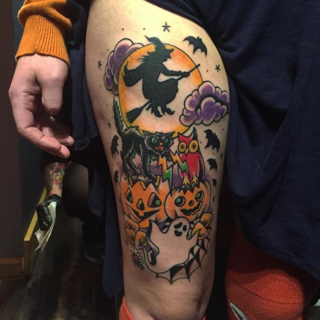 Witch and Jack-o-lanterns Tattoo on Thigh