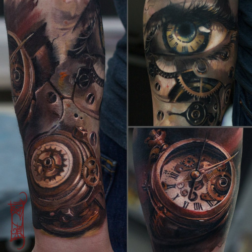 eye clockwork tattoo by Timur Denisenko