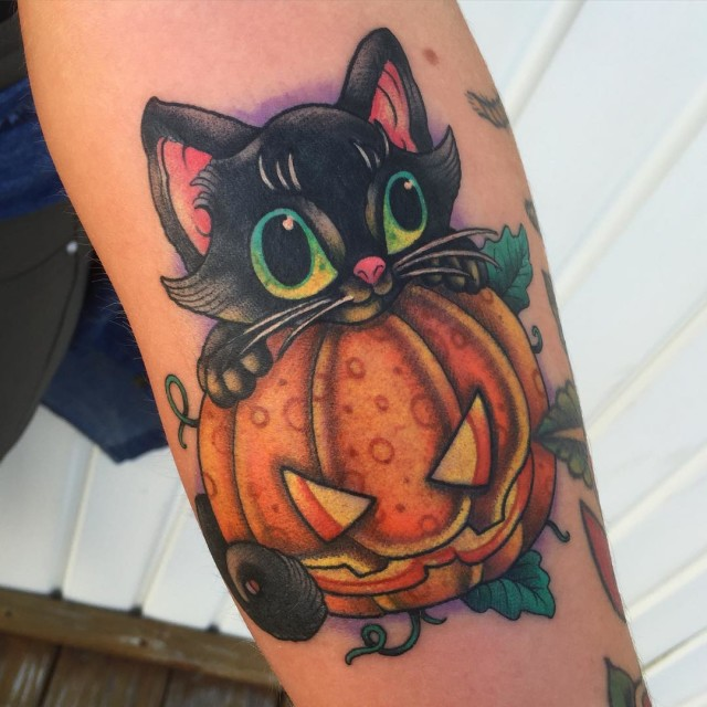 Jack o Lantern Kitty Tattoo