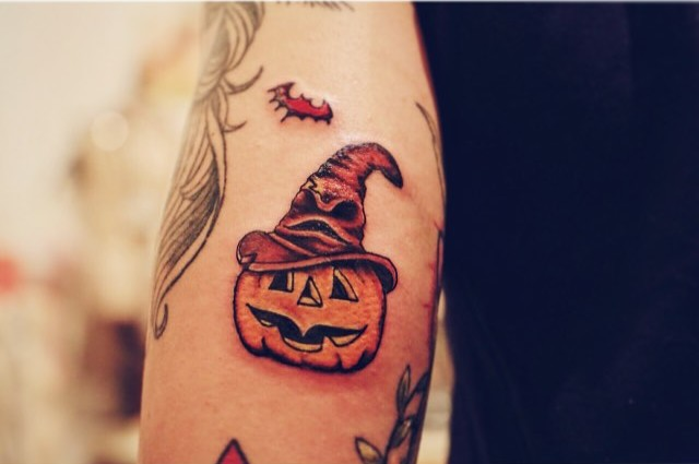 Witch Hat Pumpkin Tattoo