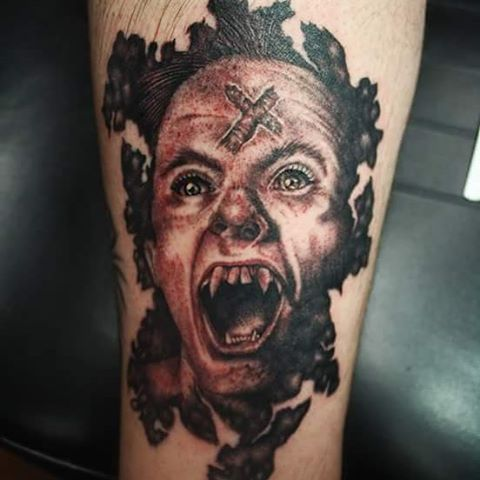 Wide Mouth Vampire Tattoo
