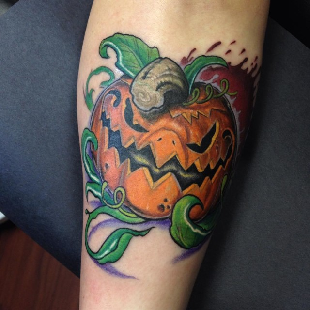 Really Angry Pumpkin Tattoo