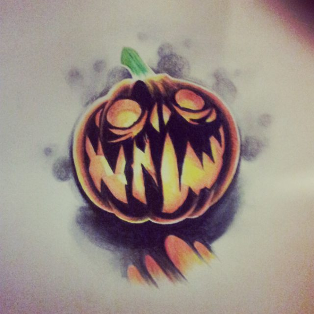Small Dark Jack o'Lantern Tattoo