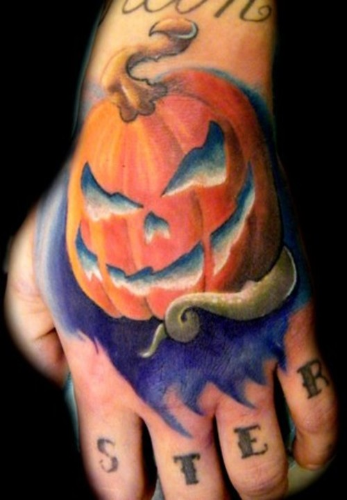 Foot Angry Pumpkin Tattoo