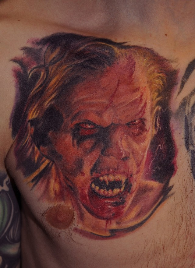 Very Ugly Vampire Portrait Tattoo