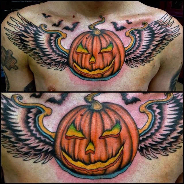Wings Pumpkin Tattoo on Chest
