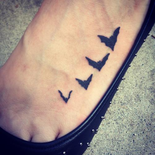Small Bats on Foot Tattoo