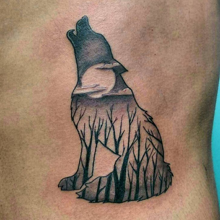 wolf forest tattoo by m4l_foodog