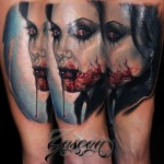 Girl Vampire Bloody Face Tattoo